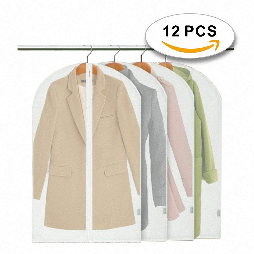 12 Pack Garment Bag Covers, Travel and Storage Breathable Bag, Suit Bag With Strong Zipper - Large Size 120cm × 60cm - For Dresses, Suits, Tuxedos, Coats, Luggage