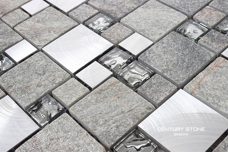 Outdoor Aluminium Mix Gl Quartz Stone Wall Mosaic Tile
