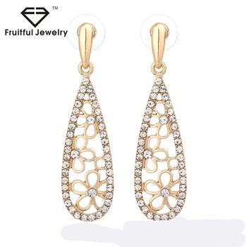 Fashion Women Lovely Elegant Zircon Rhinestone Hollow Out Flower Shape Long Drop Earrings