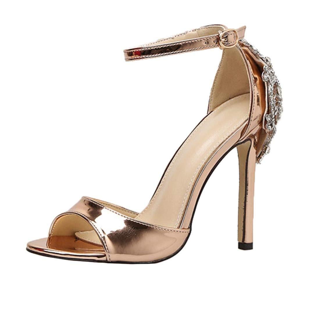 b48ed161125 Get Quotations · SUKEQ Fashion Womens Summer Luxury Diamond High Heel  Sandals Sexy Peep Toe Ankle Strap Party Wedding