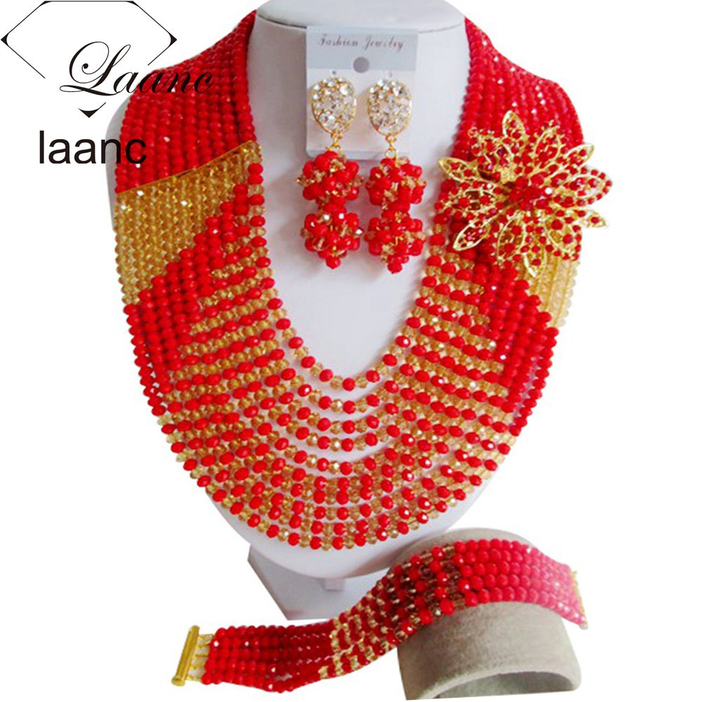 African beads jewelry set and nigerian wedding Ten Layers Jewelry Sets