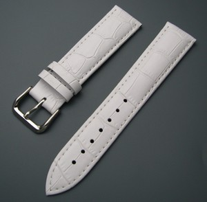 CARLYWET 12 14 16 18 20 22 24mm Men Women Genuine Cowhide Leather White Classic Alligator Grain Watch Band Strap Belt