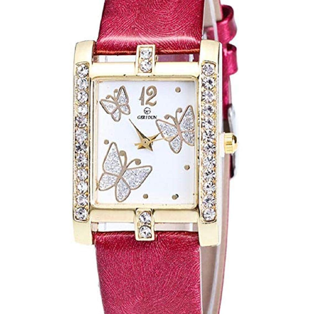 Butterfly Watches for Women, Windoson Crystal Analog Lady Watches Female Watches Wrist Watches for Women Rectangle Leather Watch (red)