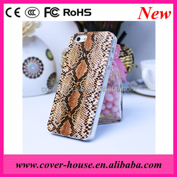 Hot selling Snake pattern leather transparent PC case for iPhone 5G/5S