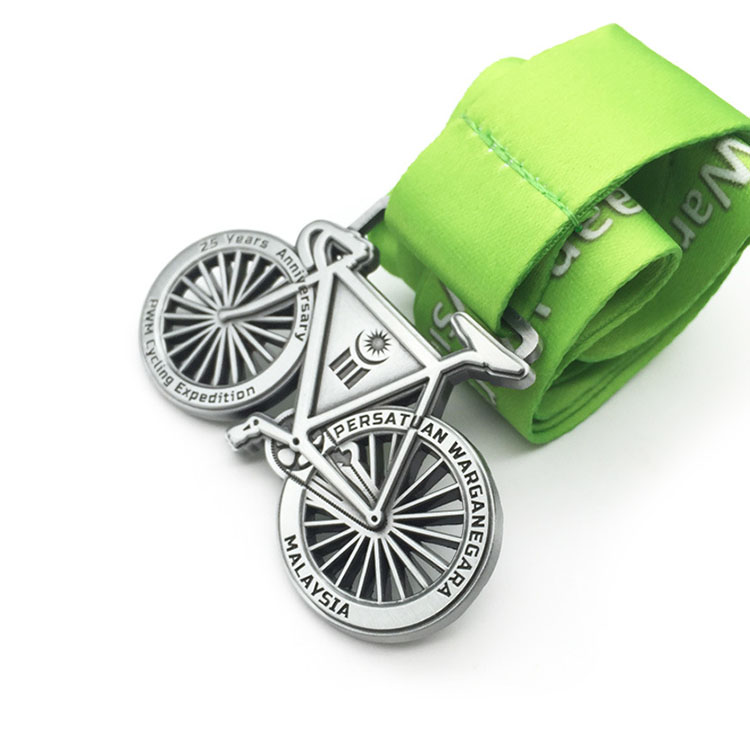 Wholesale metal casting bike shape 3D trophy medals
