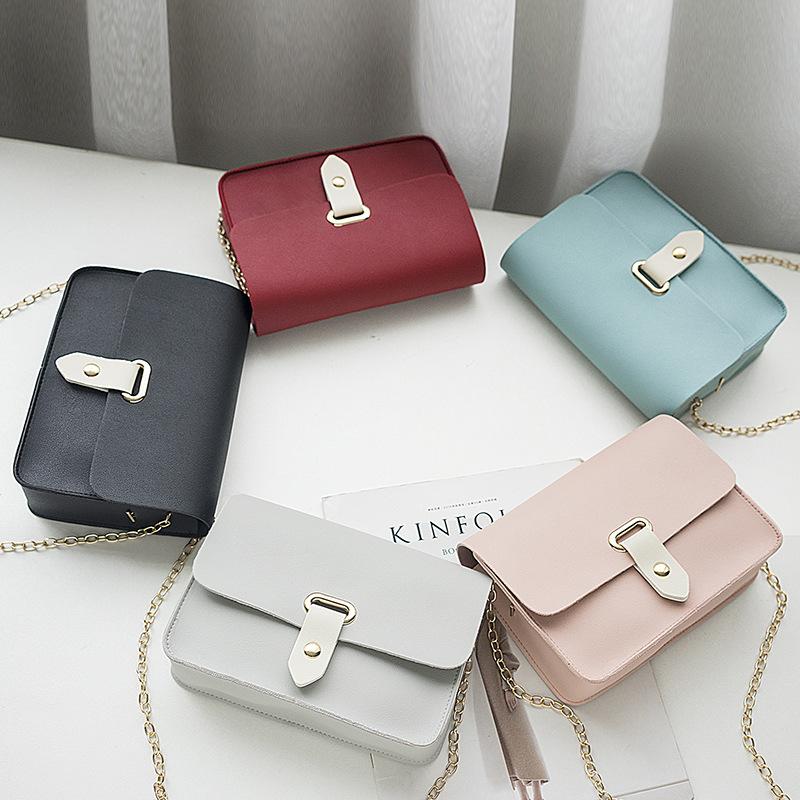 7b7ce41901b78 2019 yeni Bayan omuz çantaları mini zincir kadınlar ucuz pu deri postacı  çantası