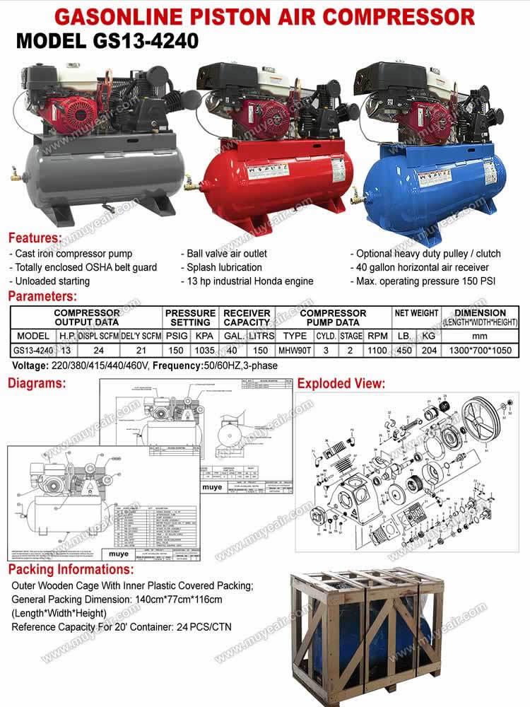 Piston belt driven industrial air compressorbest seller for Piston type air motor