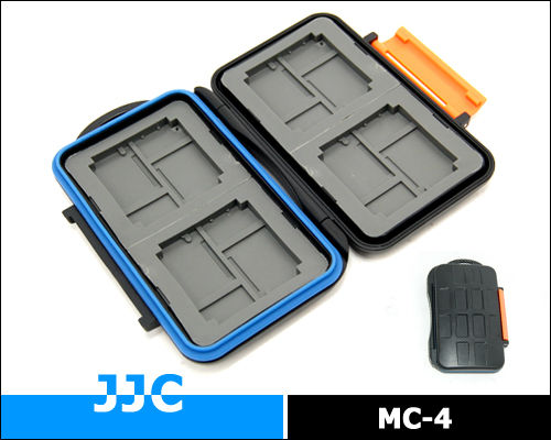 JJC MC-4 Tough structure rubber sealed water proof Memory Card case protector for 4x CF, 8x Micro SD, 8x XD
