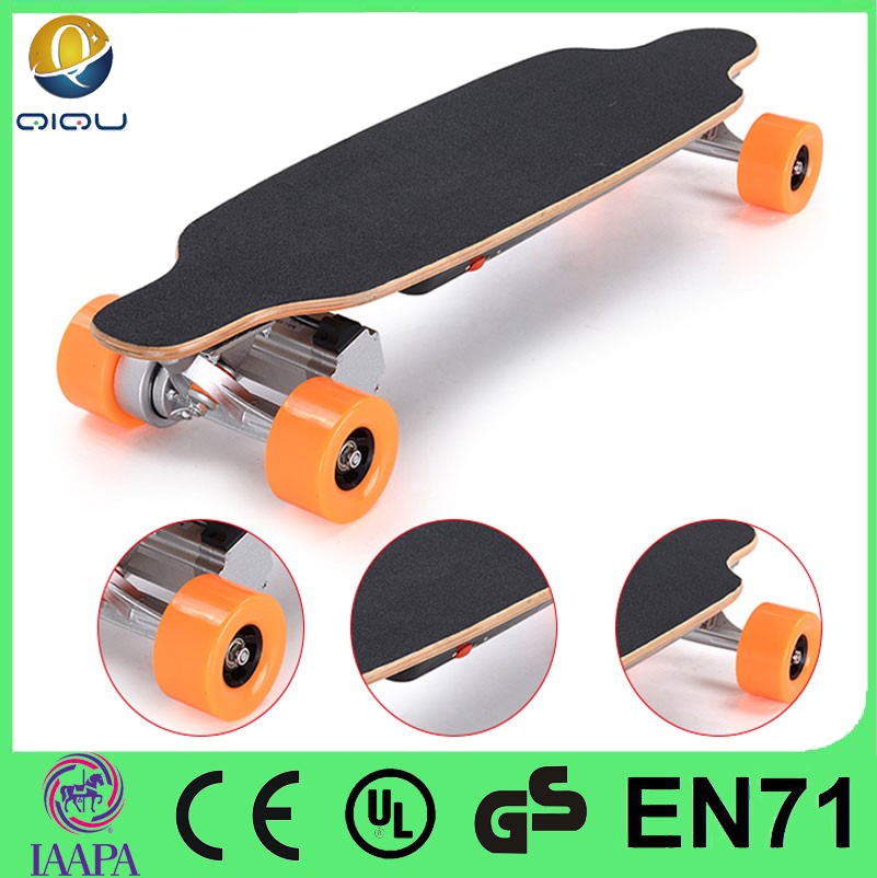 New no foldable and CE approval dual hub motor electric powered skateboard with lithium battery, motorised skateboards for sale