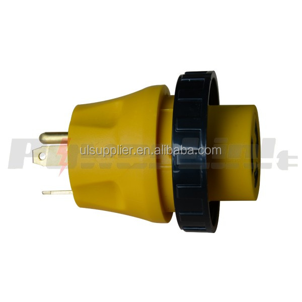 S10324 L30-30 RV Electrical Locking Adapter 30A Male to 30A Female Locking Plug Connector