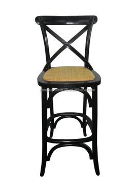 Hot Sale Bar Chairs Cross Back Bar Stool High Chair Wood