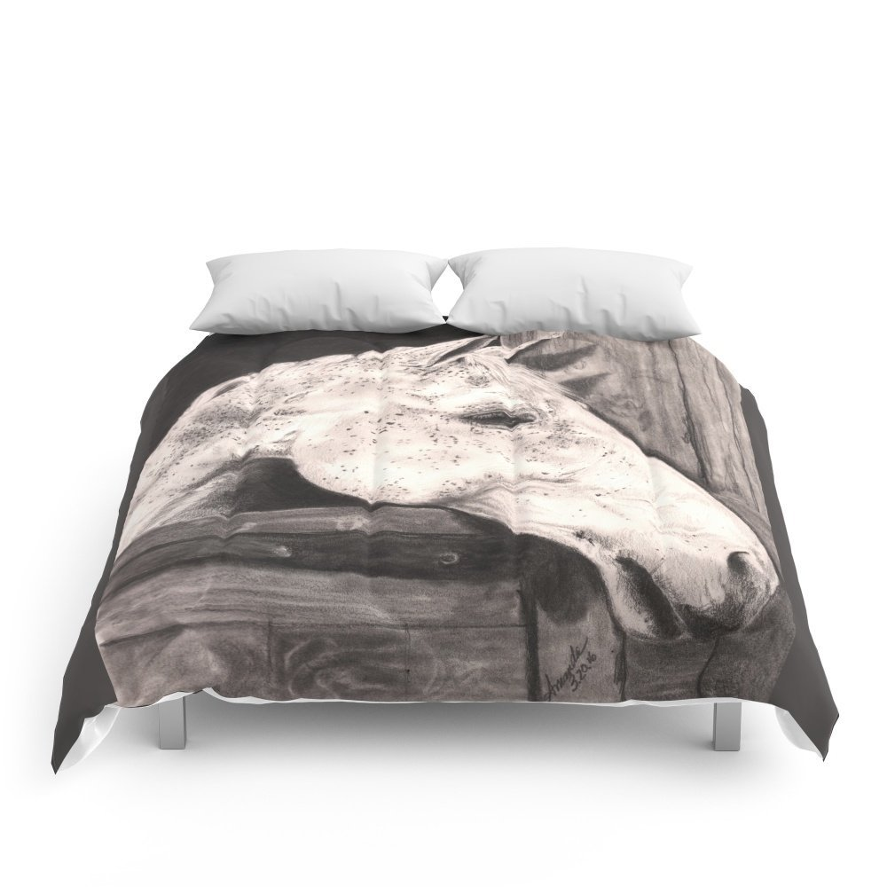 """Society6 White Horse. Comforters King: 104"""" x 88"""""""