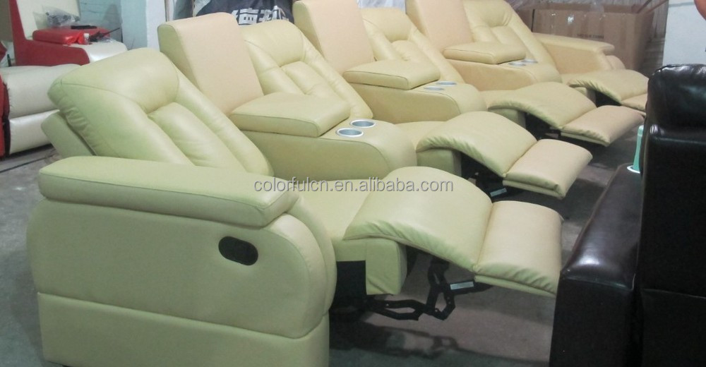 Yellow Leather Recliner Sofa For Home,solan,hotel 4 Seats Sofa/recliner  Theater