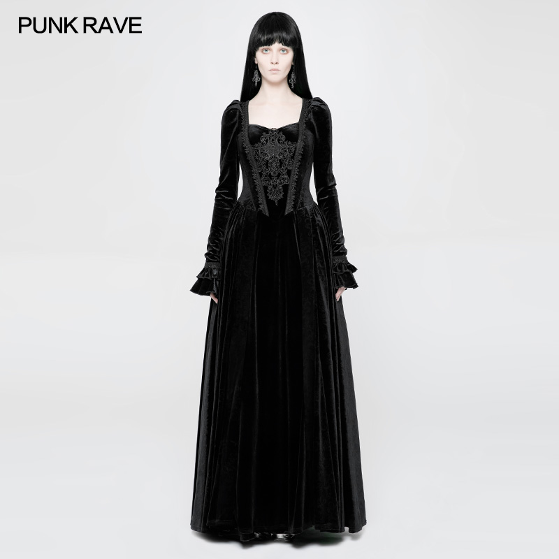 WQ-360 Dancing party black corsage dress high waist velvet Victoria dress