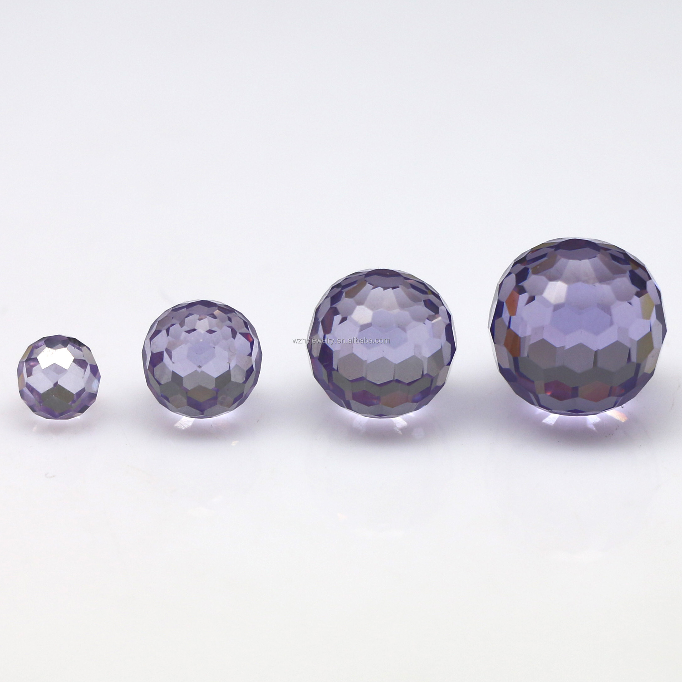 4mm6mm8mm12mm custom made round faceted cut cubic zirconia beads