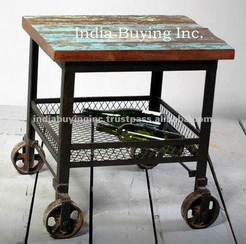 Super Vintage Style Rustic Coffee Table With Cast Iron Wheel Recycled Wood Coffee Table With Wheels Buy High Quality Indian Style Kitchen Table Modern Evergreenethics Interior Chair Design Evergreenethicsorg