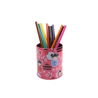 Custom Cylindrical Tin Pen Holder /Round Tin Pencil Holder/Metal Pen Container