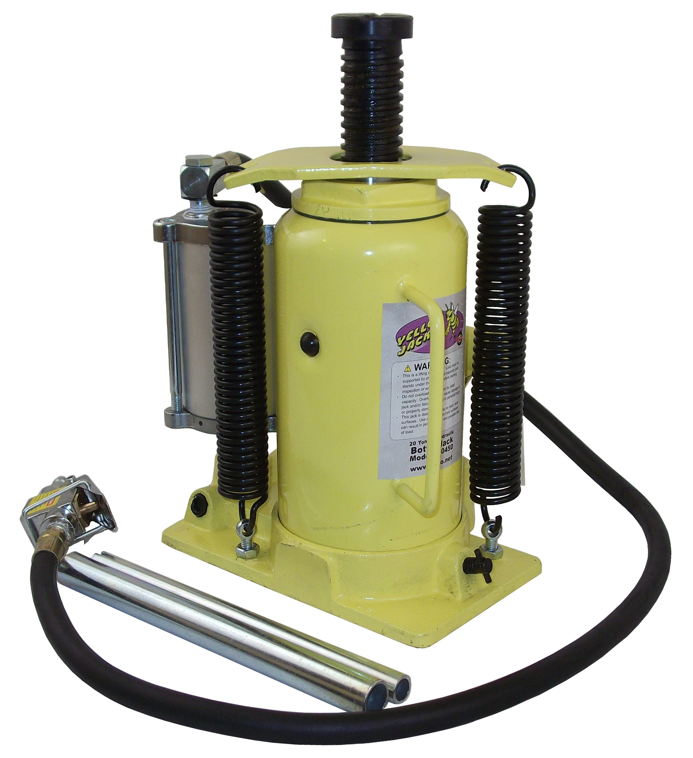 ESCO 10450 Yellow Jackit Air Hydraulic Air/Manual Bottle Jack, 20 Ton Capacity, 19.2 Inch Height 8 Inches Height