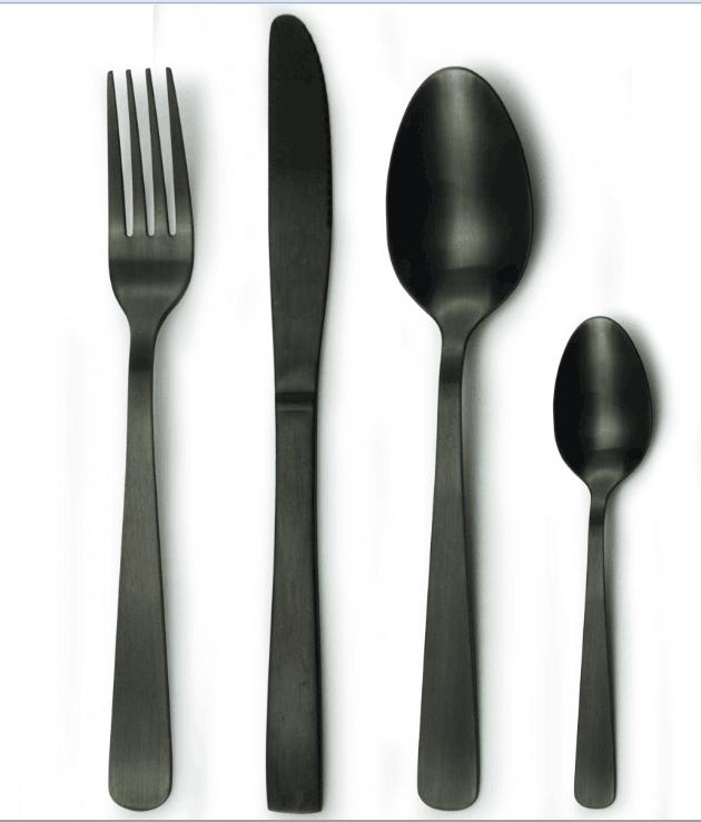 noir mat couverts couteau fourchette cuill re noir acier. Black Bedroom Furniture Sets. Home Design Ideas