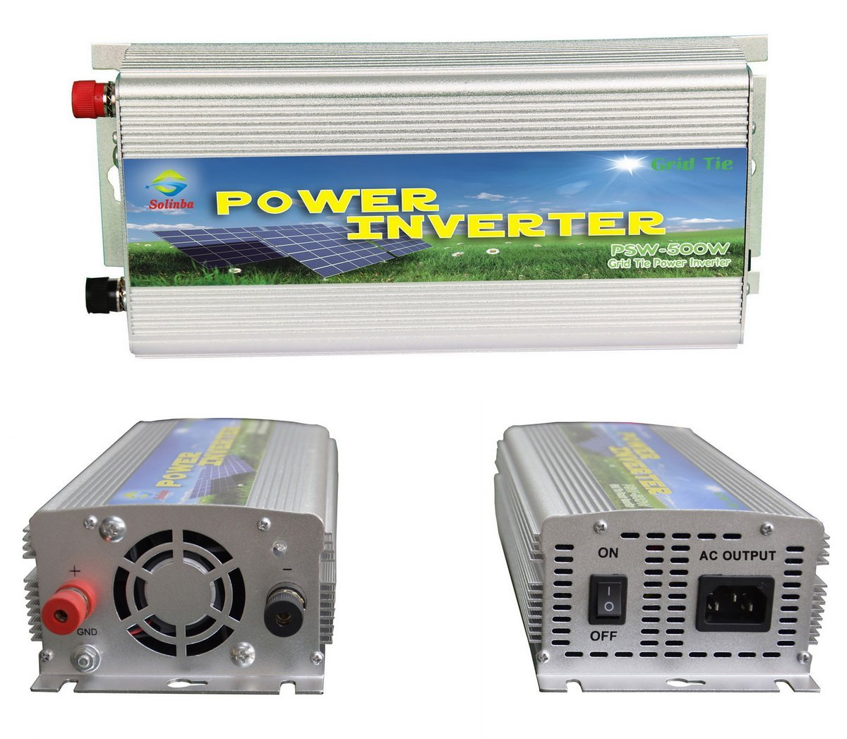 Solinba Micro Grid Tie Power Inverter 500w, Converter, MPPT, for Solar Panel, Silver, EU, DC22v-56v to AC 220v