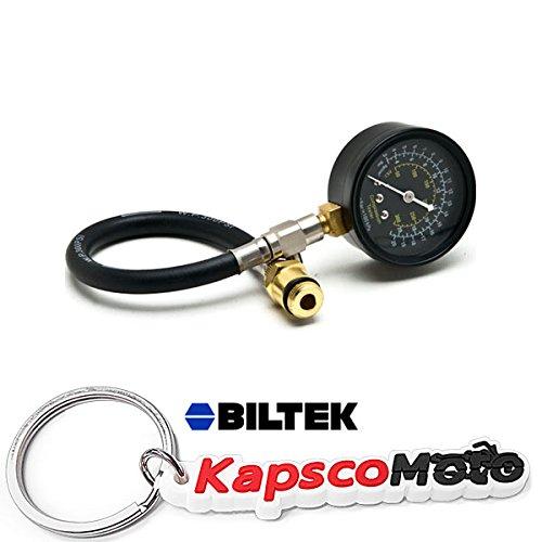Biltek Automotive Flex Drive Cylinder Compression Check Tester 14mm & 18mm 0-300 PSI + KapscoMoto Keychain