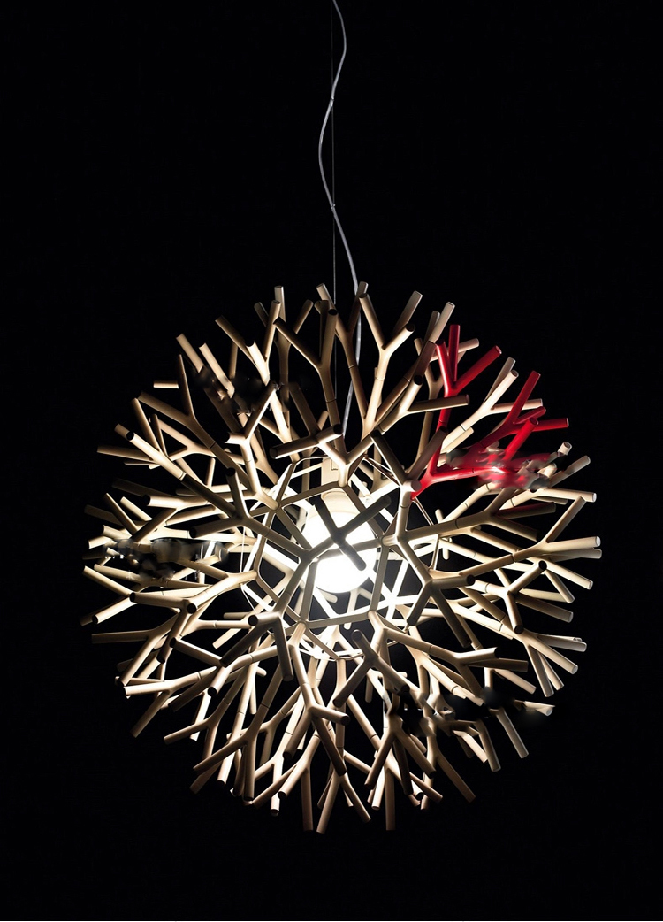 Modern Vintage Wooden/iron Pendant Lamp Hang Coral Chandelier For ...