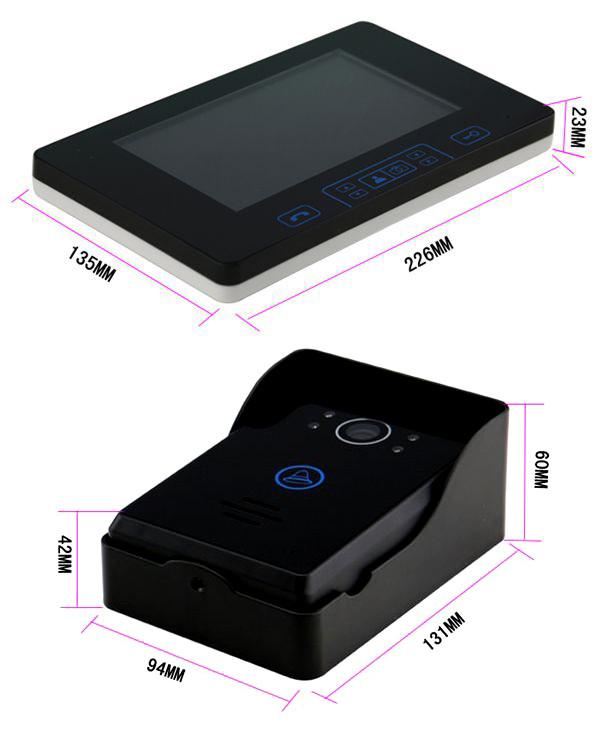 """Luxury 7""""colour touch key wired video door phone doorbell intercom system with rainproof door camera"""