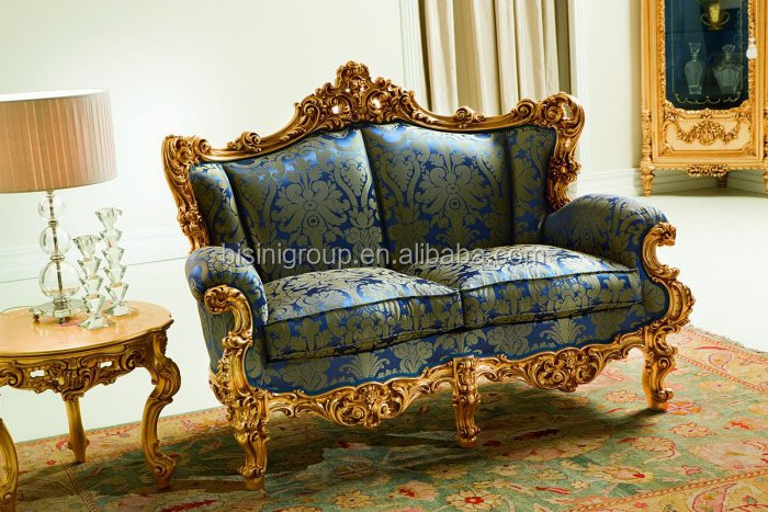 BF11 03243f Luxury Baroque Style Two Seat Sofa Of Golden Frame
