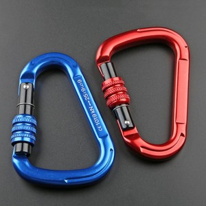 Hot-forged Magnalium Locking Climbing Hook Holds 5511lbs with Screwgate Clip 25KN Rock Climbing Carabiner