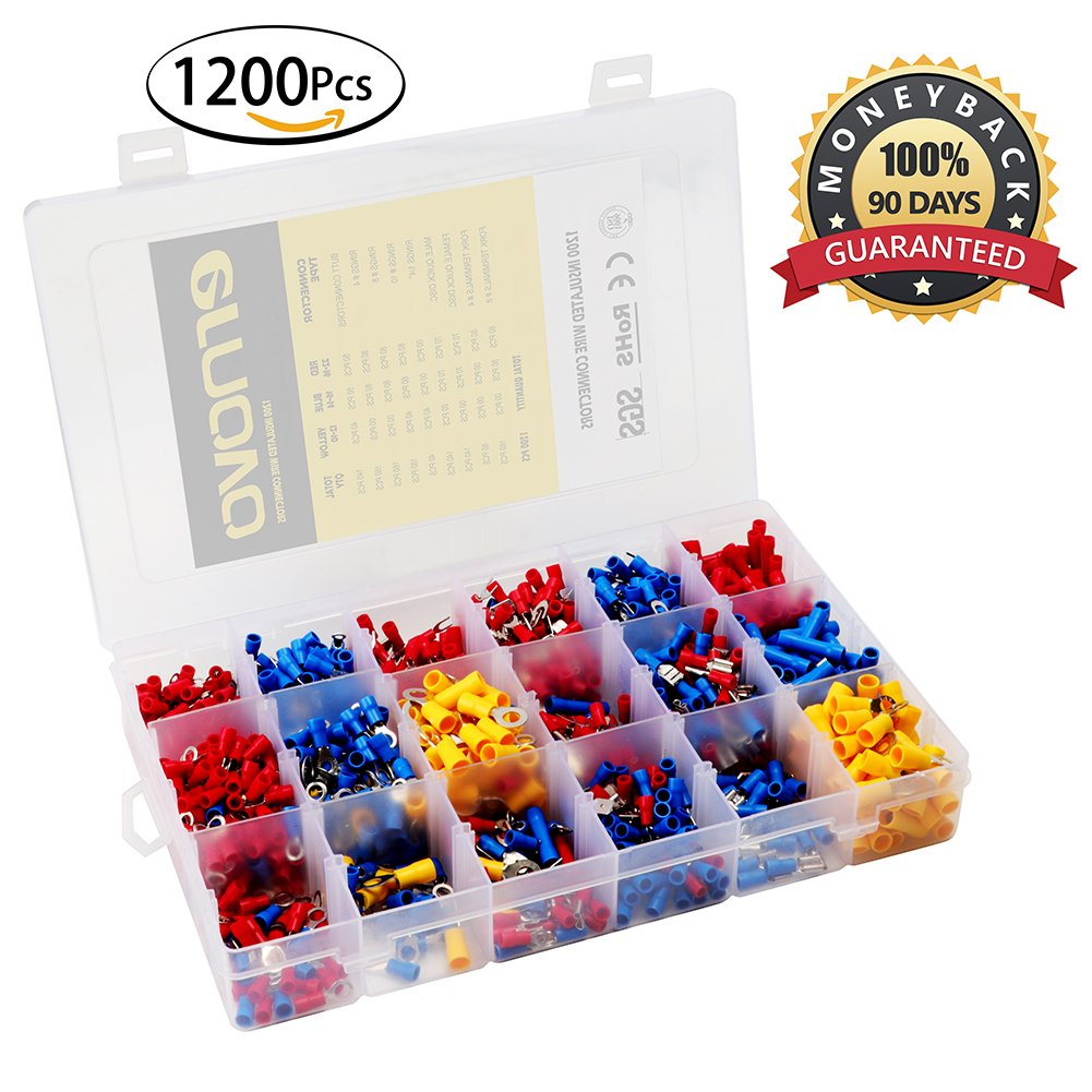 Electrical Connectors, Ernovo 1200pcs Insulated Wire Terminals, Wire Connectors, Crimp Connector Kit with 18 Size Assortment Terminal Set