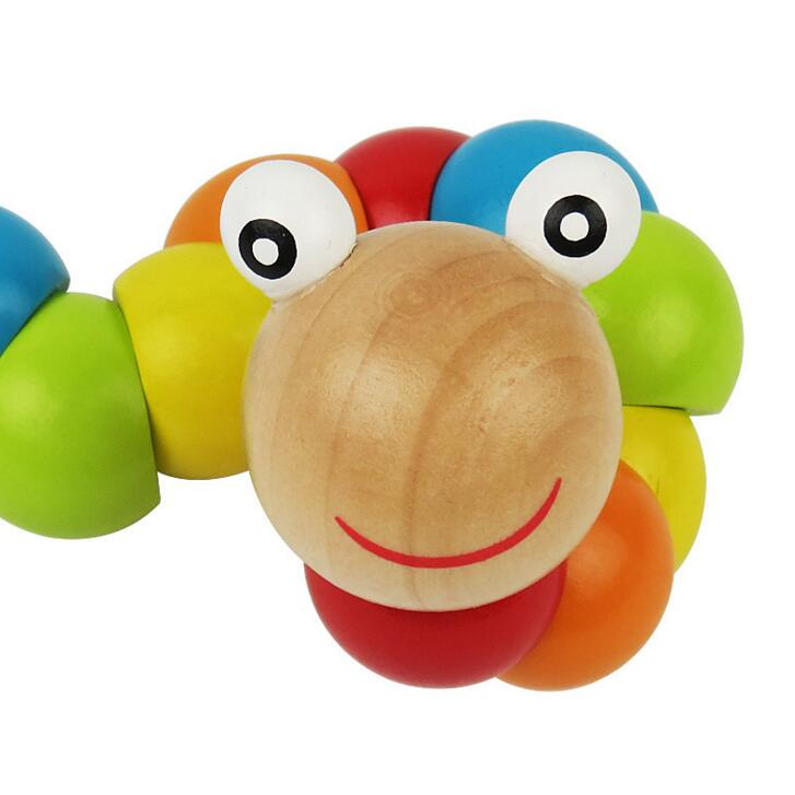 exercise finger flexibility kids educational caterpillar wooden toy