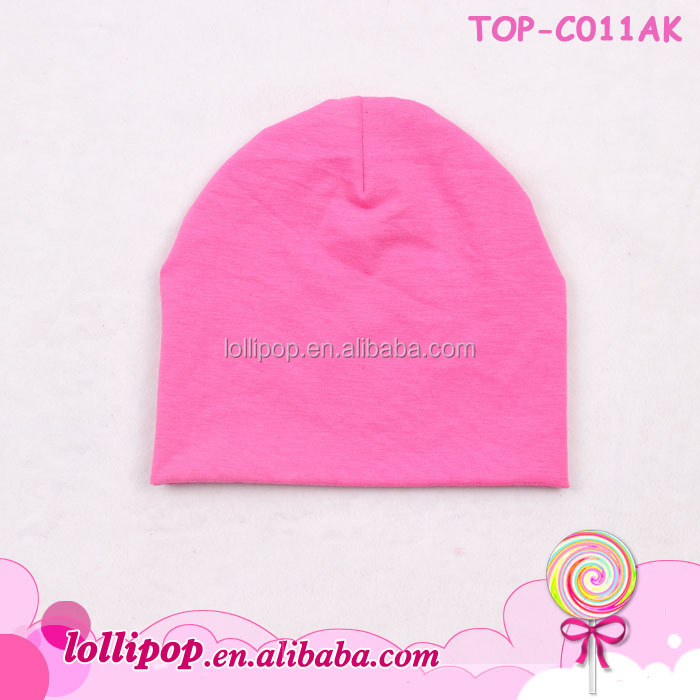Promotional Hot Pink Cotton Plain Winter Baby Hat Bonnet Beanie