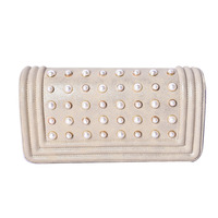 Wholesale Designer Women Stud Beaded Leather Handbag Night Clutch Evening Bag