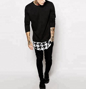 New Style long sleeve longline Neck Double layer Hem t-shirt Man