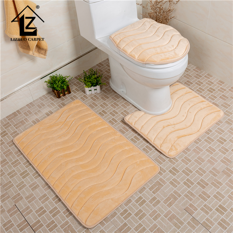 Foam Backing 3 Piece Bath Rug Sets