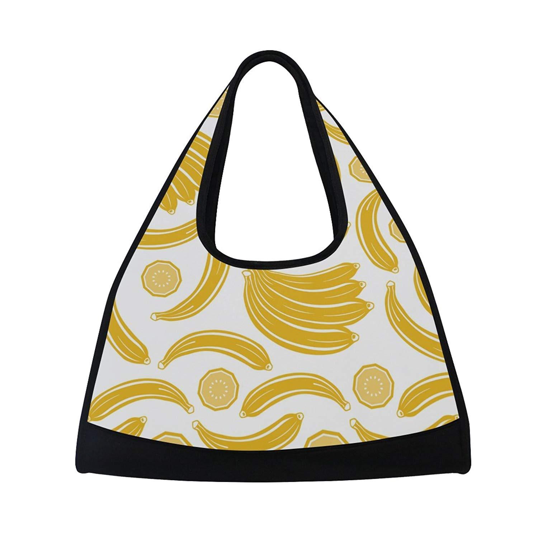 Sport Gym Bag Banana Lemon Fruit Pattern Canvas Travel Duffel Bag