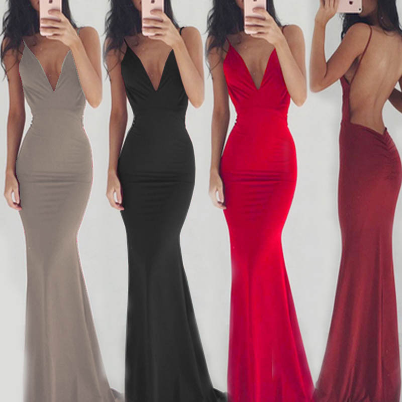 or10590h Europe and America red sexy long evening dress women party dresses female formal clothes