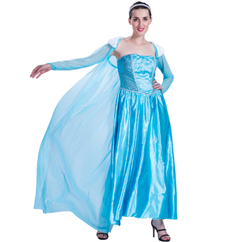 Adult Women Ice Queen Elsa Princess Dress Costumes For Carnival
