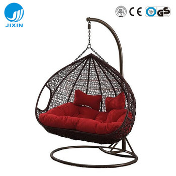 Patio Rattan Wicker Double Seat Hanging Egg Swing Chair With Metal
