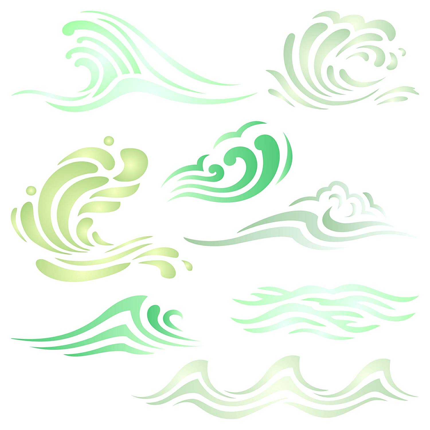 DIY Decorative Wave Stencil Template for Scrapbooking Painting on Wall Furniture Crafts Set of 6 Wave