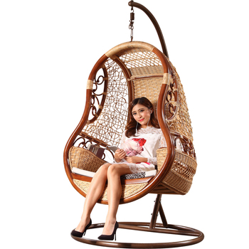 Luxury Unique Classic Home Indoor Bamboo Wicker Cane Wooden Hanging Swing  Chair