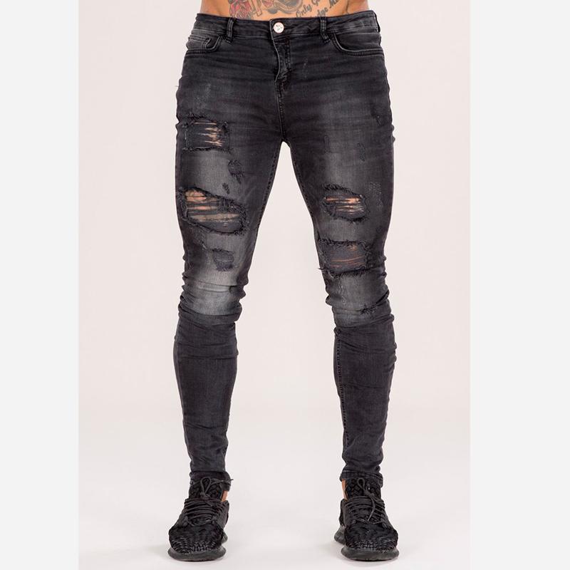 b24ebba6d نموذج جديد جينز سروال ممزق هوب ضيق صالح أنيق جينز كاجوال ملابس للرجال