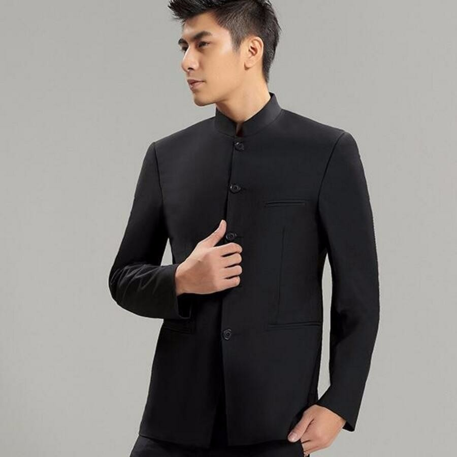 Un traje  Chaqueta. 17.1 Chinese Collar Suit Jacket For Men New Mandarin  Collar Slim Fit Blazers Male Wedding Jackets ... a34b4586e57c