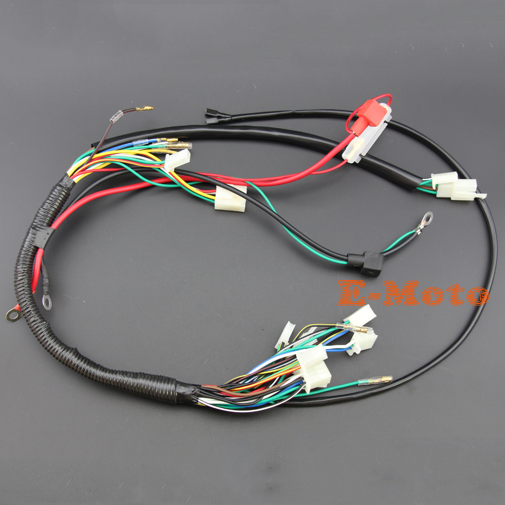 go go battery wiring harness wire loom wiring harness wireloom 50cc 70cc 110cc 125cc ... battery wiring harness #11