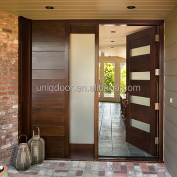 Elegant solid wood main door design with tempered glass for Elegant main door designs