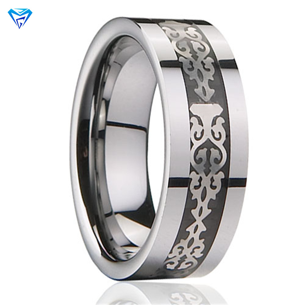Zhuzhou Factory Original Inlaid Wood Or Electroplate Fashionable Carbide Polished Ladies Accessories Tungsten Ring White