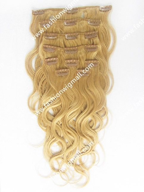 9pcs/set 17 clips Full Head Set Clip In Hair #8 Medium Ash Brown Wavy Clip On Hair 100% Real Hair Clip In Extensions