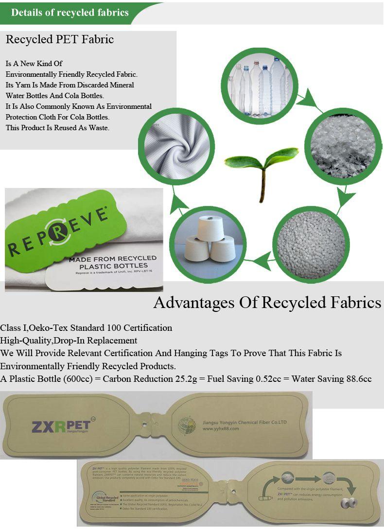 Respetuoso del medio ambiente reciclado de poliéster 100% Rpet tela ecológica