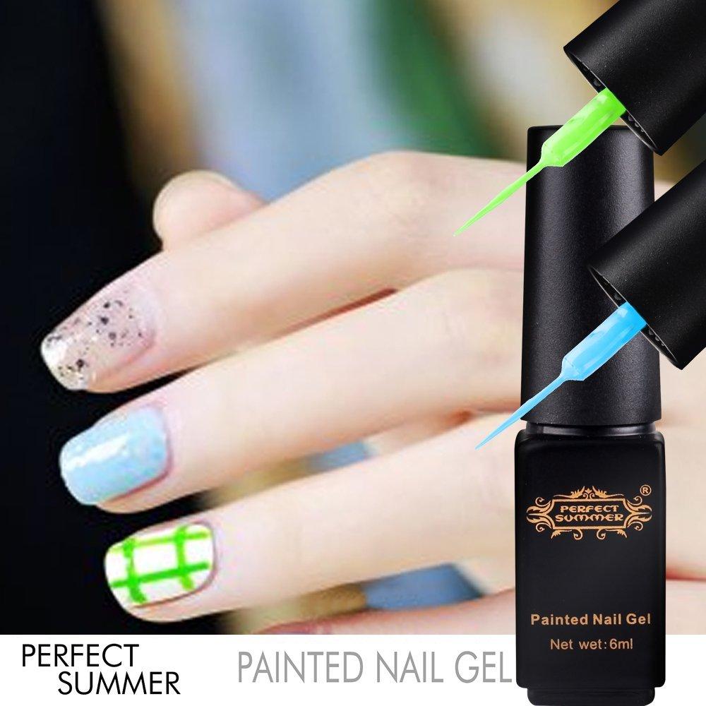 Perfect Summer New Hot 3pcs UV Nail Gel Polish Painted Nail Gel Dotting Tools DIY Nails Art Colors Decorations Desgins Painting Drawing Manicure 6ml Mini Pen Pull Nail Gel Liner #06