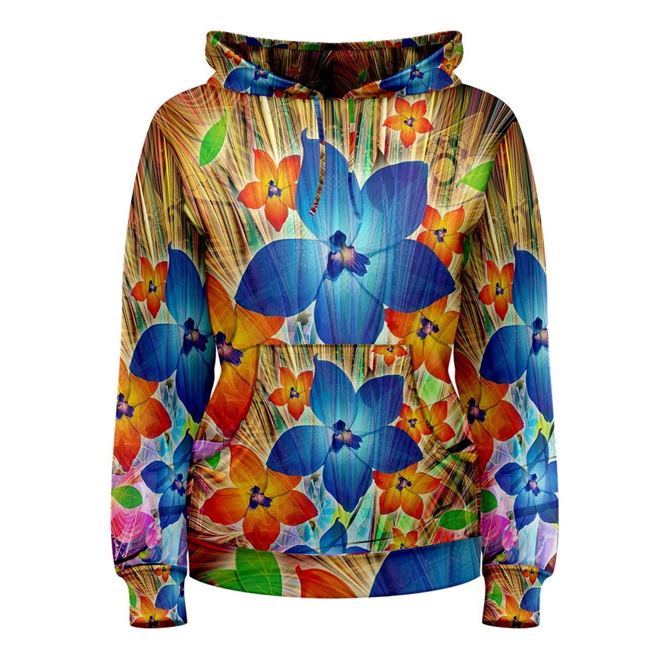 c4d9a6a6 Get Quotations · Trippy Flower Psychedelic Hippie Custom Full 3D Print  Women Pullover Hoodie Sweaters